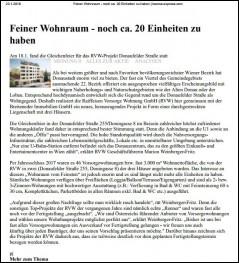 Bericht aus dem Börseexpress über die Dachgleichenfeier des Projekts Donaufelderstraße - nur noch 20 Einheiten verfügbar