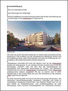 Presseaussendung Huttengasse 27 / Zwinsstraße 1, 1160 Wien